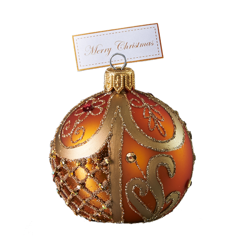 Hand crafted Christmas ornament Ornate peach cardholder