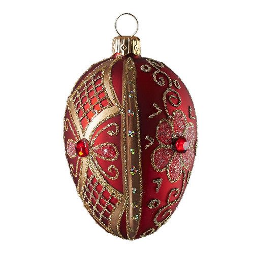 Red flowered oval Christmas/Easter oval  ornament