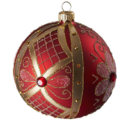 Hand crafted Christmas ornament Red flowered ball