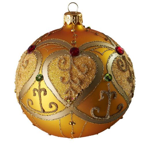 Handcrafted Christmas ornament Jeweled golden ball - large