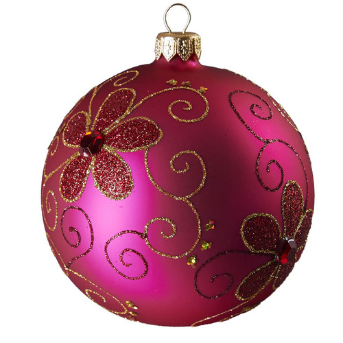 Hand crafted Christmas ornament Purple ball with gold daisies