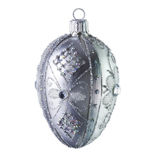 Glittery silver Christmas/Easter flowered glass christmas ornament