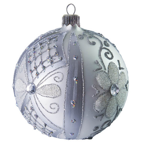 Handcrafted Christmas ornament Silver flowered ball. Mouth-blown and hand-painted European glass premium Christmas decoration from GLASSOR.