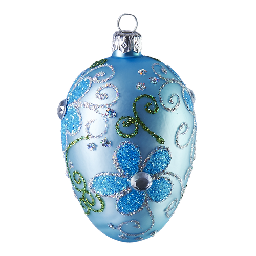 Hand crafted Christmas/Eater ornament Powder blue oval with blue daisies