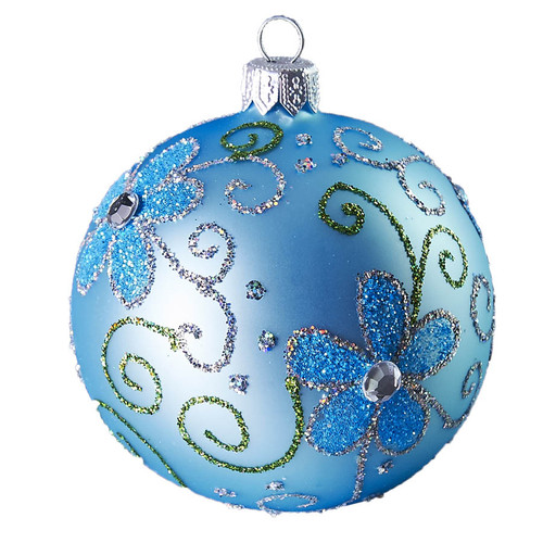 Hand crafted Christmas ornament Powder blue ball with blue daisies - large