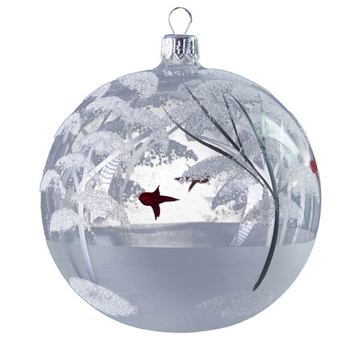 Handcrafted Christmas ornament Glass ball with winter scene - large.