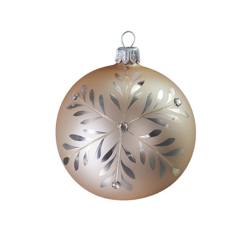 Hand crafted Christmas ornament Silver snowflake ball by GLASSOR.
