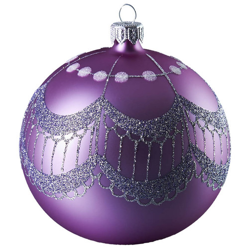 Hand crafted Christmas ornament Purple ball with silver tassels - large