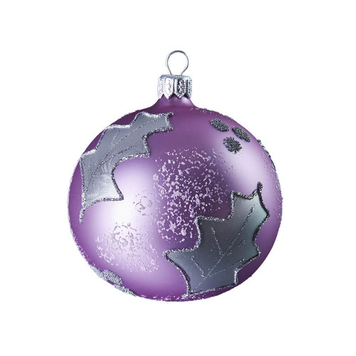 Hand crafted Christmas ornament Purple ball with silver leaves
