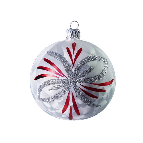 Handcrafted Christmas ornament White ball with silver and red poinsettia by GLASSOR.