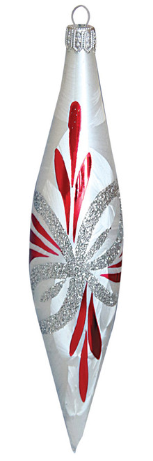 Hand crafted Christmas ornament White icicles with silver and red poinsettia