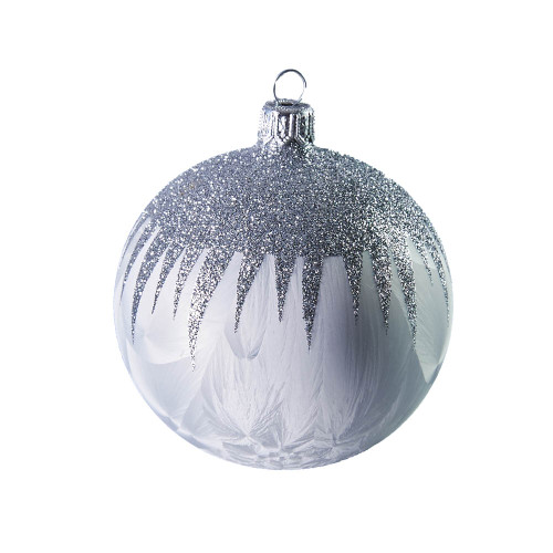 Hand crafted Christmas ornament White ball with silver top