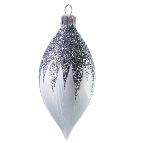 Hand crafted Christmas ornament White teardrop with silver top