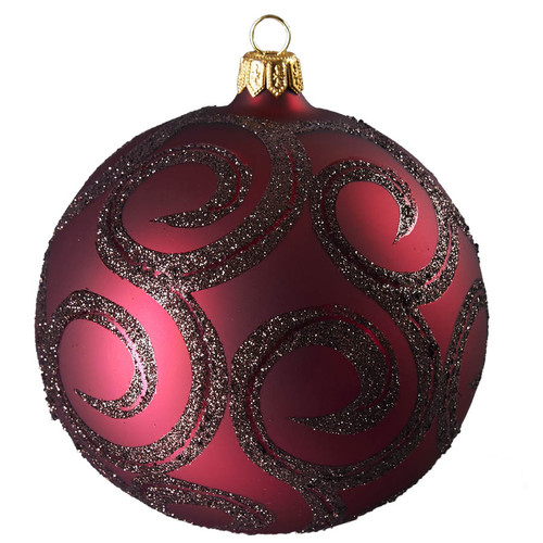 Hand crafted Christmas ornament Ruby ball with glitter scroll - large