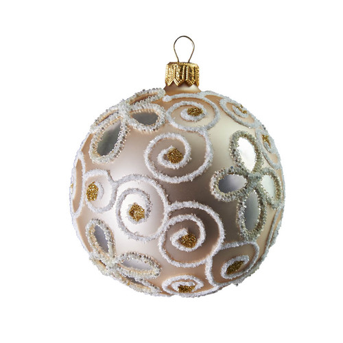 Hand crafted Christmas ornament Pearl ball with glitter vines