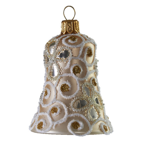 Hand crafted Christmas ornament Pearl bell with glitter vines