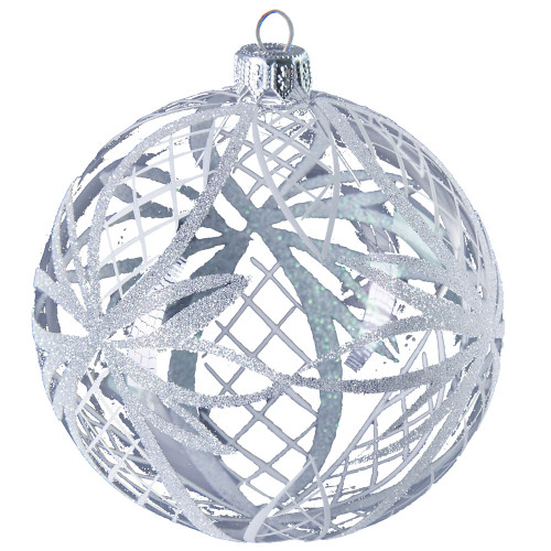 Large glass ball with white ribbons mouth-blown and hand-painted glass Christmas ornament by GLASSOR.