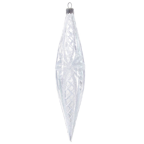Hand crafted Christmas ornament Glass icicle with white ribbons