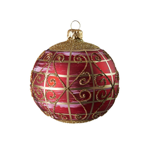 Hand crafted Christmas ornament Ruby ball with gold lattice