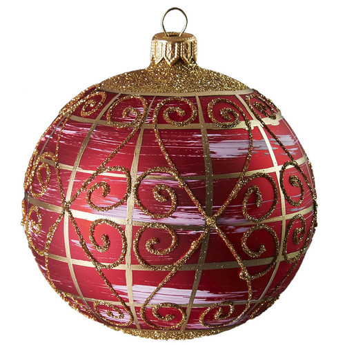 Hand crafted Christmas ornament Ruby ball with gold lattice - large