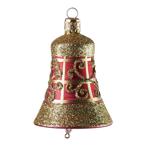 Handcrafted Christmas ornament Ruby bell with gold lattice