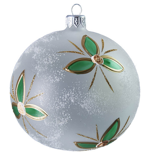 Hand crafted Christmas ornament White ball with modern flowers - large