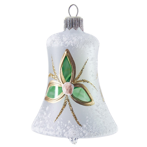 Hand crafted Christmas ornament White bell with modern flowers