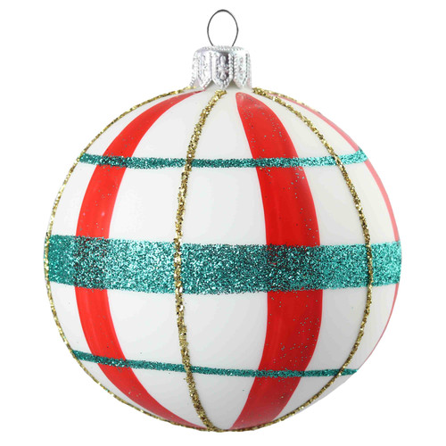 Hand crafted Christmas ornament White ball with red and green plaid - large