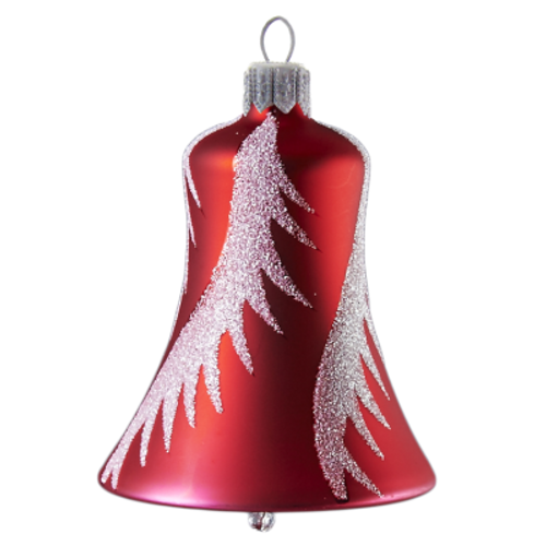 Red Bell With Snowy Swirls Christmas Ornament, old world European mouth-blown and  hand-painted ornament, made of glass.