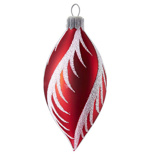 Hand crafted Christmas ornament Red oval with snowy swirls