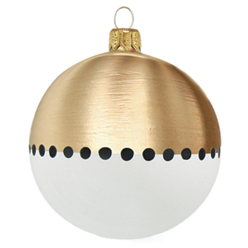 White and gold Christmas bauble with black dots