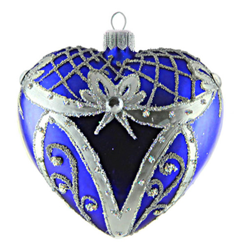 Christmas Decoration Blue Heart with Silver Décor