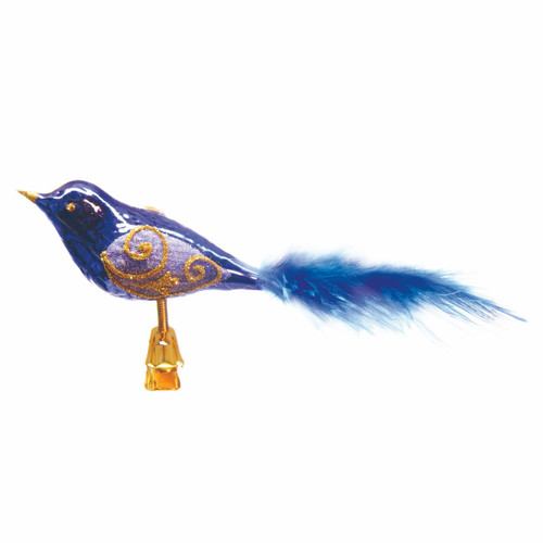 Christmas Decoration Western Bluebird with Blue Feathers mouth-blown and hand-painted glass Christmas ornament. Made in Europe, shipped from Ohio!
