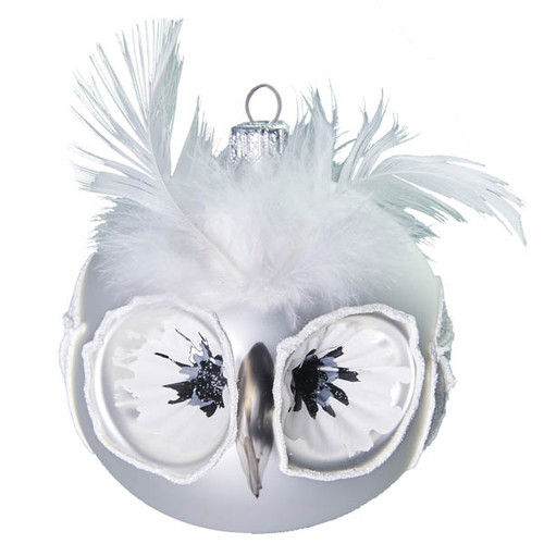Owl White Indented Christmas Bauble with Feathers