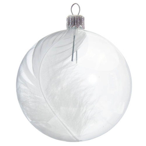 Clear Ball with White Feather Inside mouth-blown and hand-decorated Czech glass Christmas ornament by GLASSOR.