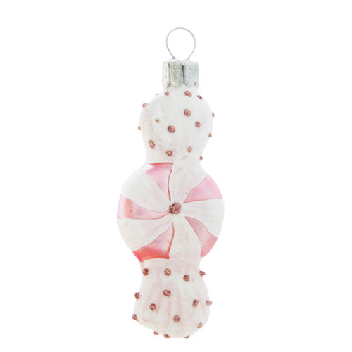 Pink Candy Christmas Decoration handcrafted glass Christmas ornament by GLASSOR.