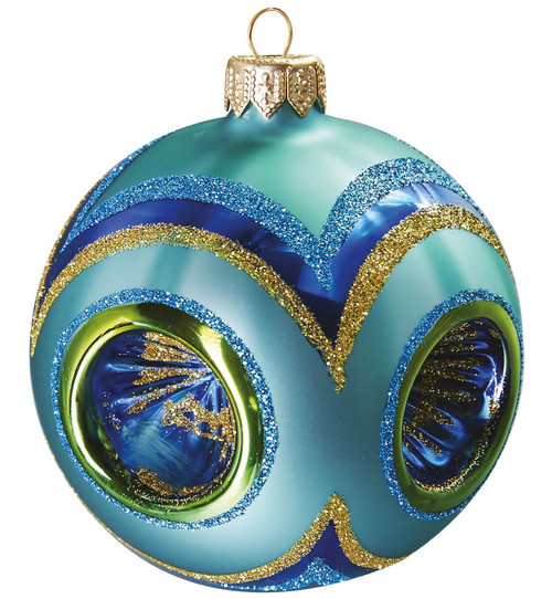 Turquoise Ornament with Four Reflectors a unique ornament made by special technique, that creates 3D indents into the ornament. Mouth-blown and hand decorated. Designed for the perfect Christmas by GLASSOR.