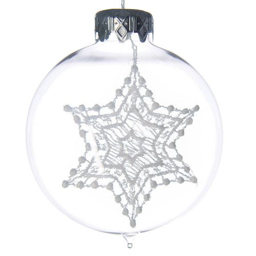 Lace Star Christmas Glass Bauble Ornament is a result of an outstanding combination of production techniques - blowing and bobbin lacing.