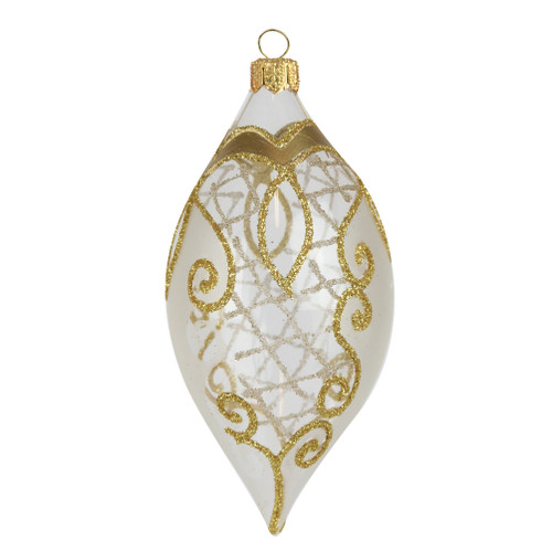 Transparent tear drop olive with gold glitter Christmas ornament