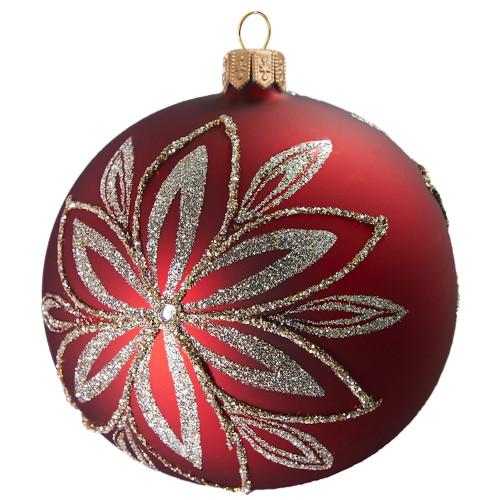 Dark red glass ball with platinum flower Christmas ornament