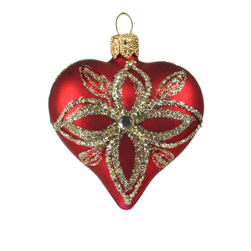 Petite Glass heart in dark red with platinum flower Christmas ornament