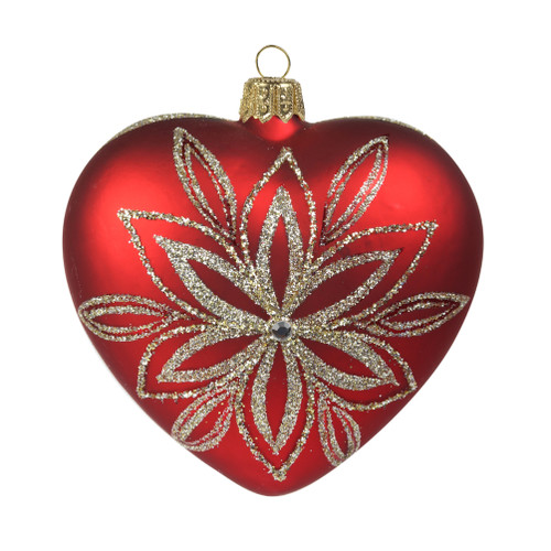 Glass heart in dark red with platinum flower Christmas ornament