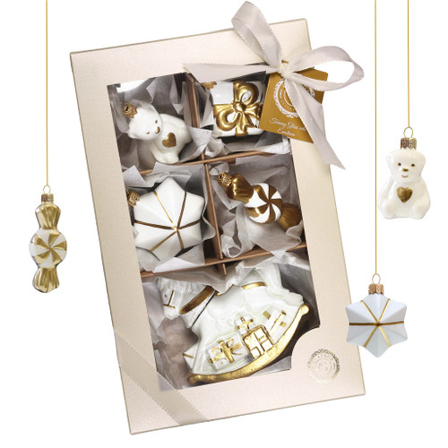 White and Gold Ornaments Set in Gift Box