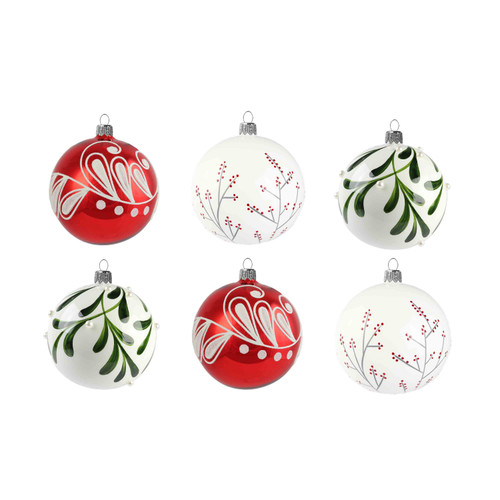 Set of 6 baubles in modern colors
