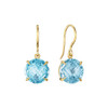 Blue Topaz Signature Earrings in Yellow Gold