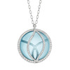 Brooke Leaf Blue Topaz and Pave Diamond Pendant