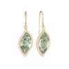 Leaf Green Quartz and Pave Diamond Earrings
