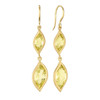 Leaf Lemon Quartz Double Drop Earrings
