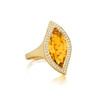 Large Leaf Orange Citrine North-South Ring
