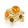 Orange Citrine and Diamond Accent Stack Ring